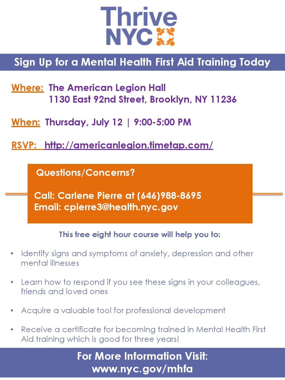 Thrive Nyc Mental Health First Aid Training Ny State Senate