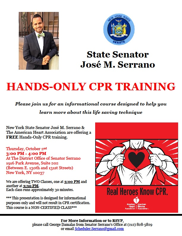 Serrano & the American Heart Association to Sponsor FREE Hands-Only ...