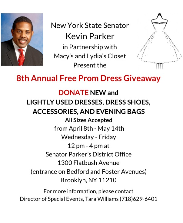 Donate dresses to senator parker 39 s 8th annual prom dress for Places to donate wedding dresses