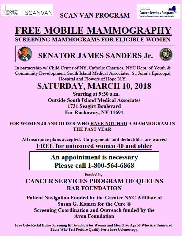 Free Mammograms Scan Van Program Ny State Senate