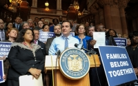 Senator Gianaris leads a Families Belong Together rally at the Capitol