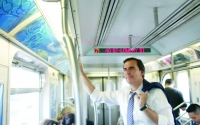 Senator Gianaris riding the subway
