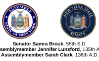 Seals of the NYS Assembly and Senate for Senator Brouk and Assemblymembers Lunsford & Clark
