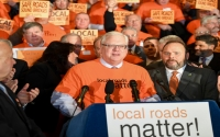 """""""It pulls the foundation out from under local roads and bridges throughout this state.  It turns its back on local infrastructure, local economies, local property taxpayers, and local motorists.  It's a disgrace,"""" said Senator O'Mara and Assemblyman Palmesano."""