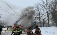 Firefighters from Hillcrest Fire Department on the scene of the Motty's Supermarket fire in Monsey on Feb. 18, 2021.