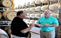 """It's another outstanding opportunity to keep the Finger Lakes region on the national map and to show our pride in Finger Lakes wine country,"" said Senator O'Mara and Assemblyman Palmesano. In the photo above, Senator O'Mara visits with Dave Stamp, Vineyard Manager of Lakewood Farm and Lakewood Vineyards."