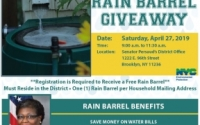 Senator Roxanne J. Persaud's Senate District 19 Rain Barrel Giveaway and E-Waste Recycling events are happening on Saturday, April 27, 2019!