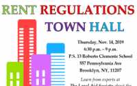 Senator Roxanne J. Persaud and the Legal Aid Society present: Rent Regulations Town Hall. On Thursday, Nov. 14, 6:30 - 9 p.m., come to PS 13 to learn from experts about the Housing Stability and Tenant Protection Act of 2019 and how rent regulations have changed!