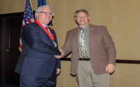 "American Red Cross-Finger Lakes Chapter Executive Director Brian McConnell congratulates Senator O'Mara following this year's ""Legislator of the Year"" awards ceremony in Albany.  The Finger Lakes Chapter covers Chemung, Schuyler, Seneca, Steuben, Wayne and Yates counties."