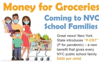Money for Groceries coming to all NYC families