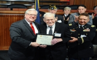 Senator O'Mara and Warren A. Thompson, a lifelong Steuben County resident and farmer, and a stalwart in the county's civic and veterans affairs who was inducted into the Veterans Hall of Fame in 2018.