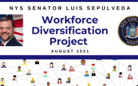 """Graphic with Senator's headshot and NYS Senate seal. Title reads """"Workforce Diversification Project."""""""