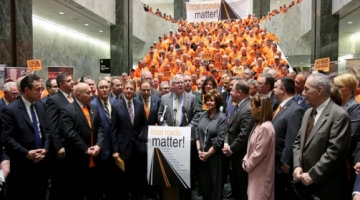 """""""The improvement and upkeep of local transportation infrastructure is a wise use of taxpayer dollars. Every additional dollar of state support means a dollar less that our local property taxpayers have to pay,"""" said Senator O'Mara and Assemblyman Palmesano."""