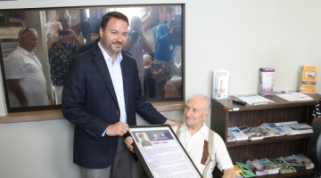"""Sen. Rob Ortt (R,C,I,Ref-North Tonawanda) honors U.S. Army Private First Class, Anthony Santoro with a 2019 New York State """"Veterans' Hall of Fame"""" Award for his service in Germany during WWII."""