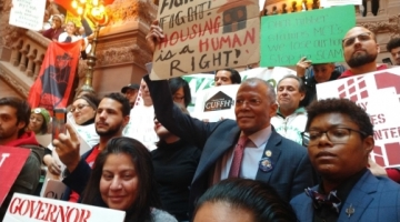 Senator Jackson stands with fellow tenants during a Housing Justice for All rally in Albany in January 2020