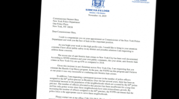 Letter to NYPD Commissioner Shea