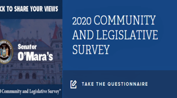 """""""This annual survey helps provide meaningful and useful snapshots of what's on the minds of area residents paying attention to state government and willing to give some thought to the choices being debated and decided in Albany,"""" said Senator O'Mara."""
