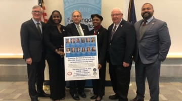 Senators and Assemblymembers pose with the president of SUNY Farmingdale