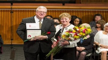 "Senator O'Mara and 2018 ""Woman of Distinction"" Kathryn J. Boor, Dean of the College of Agriculture and Life Sciences at Cornell University."