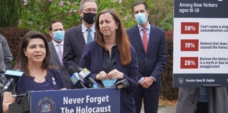State Sen. Anna M. Kaplan, sponsor of the bill, Michael Cohen, eastern director of the Simon Wiesenthal Center, Sen. Jim Gaughran, Assemb. Nily Rozic, Arnie Herz, president of the American Jewish Committee on Long Island, at a news conference Thursday. (State Sen. Anna Kaplan)