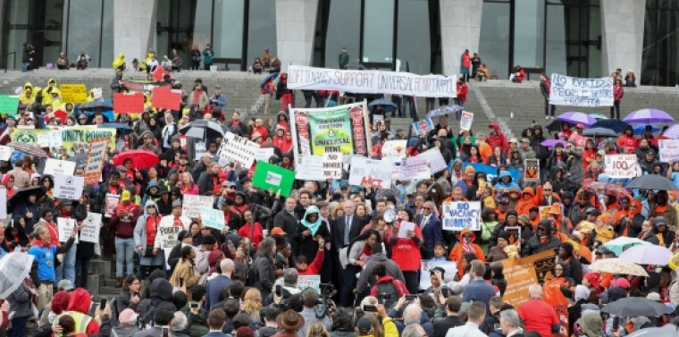 Hundreds of tenant advocates gather in Albany in April 2019 to demand real rent reform now!