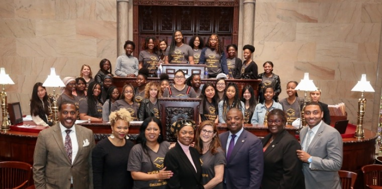 Senator Montgomery, Senator Parker, Senator Benjamin, Senator Persaud, and Senator Bailey with the young women of the YWCA Young Women Leadership College Access Program