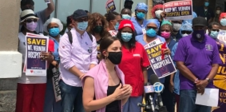 Senator Biaggi is pictured in front of the hospital with other protesters