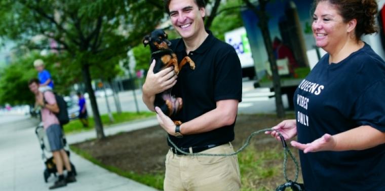 Senator Gianaris with a dog.