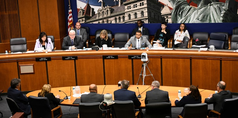 Senator O'Mara hears testimony from local district attorneys at a recent public hearing in Albany.