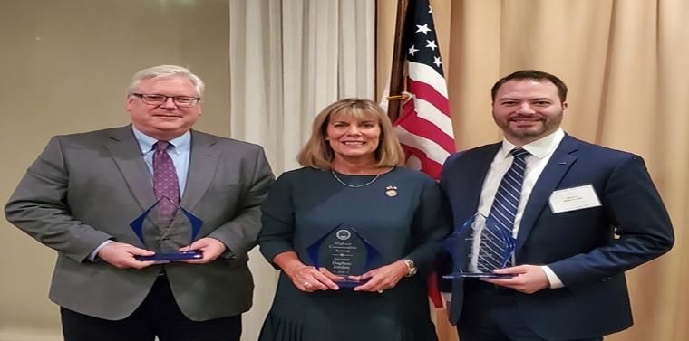 "Senator O'Mara and colleagues Senator Daphne Jordan and Senator Robert Ortt receive the ""Highest Conservative Rating"" award."