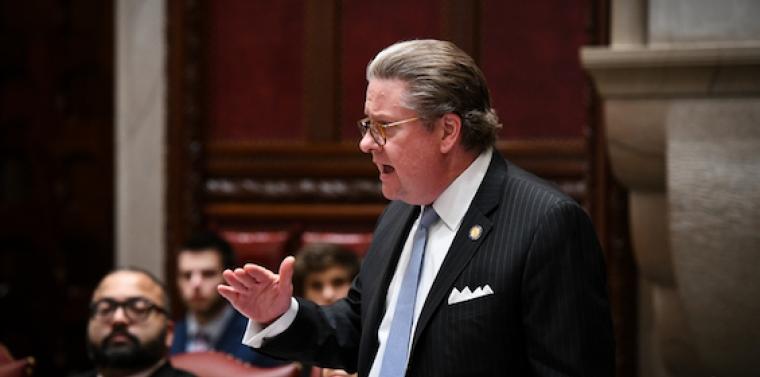 Senator Harckham speaking on the opioid crisis