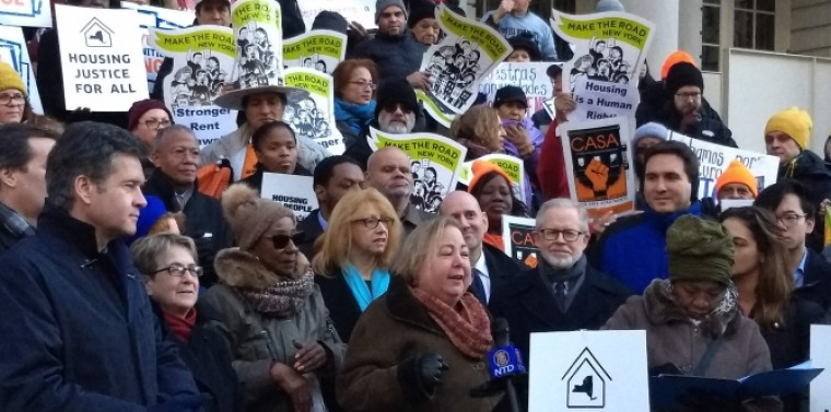Senator Krueger, elected officials and advocates rally for housing justice for all.