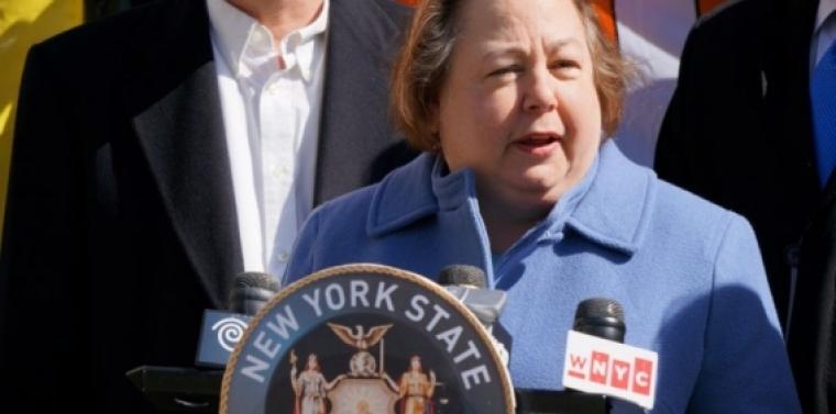 Senator Krueger at a press conference