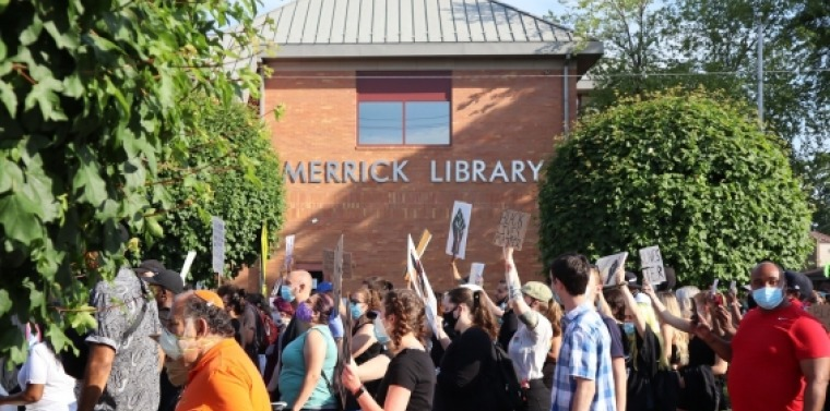 Residents of Merrick peacefully protest the killing of George Floyd