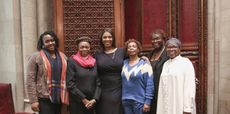 Attorney General James, Senator Montgomery and Senator Persaud celebrate passage of the Domestic Violence Survivors Justice Act (S1077)