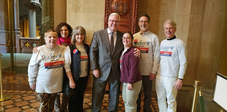 In the photo above at the State Capitol, from left to right: Karla Kesel (Direct Support Professional), Nancy Corwin Malina (President, Board of Directors), Perri LoPinto (Director of Donor & Government Relations), Senator O'Mara, Annie Joyce, Lanny Joyce, and Dan Brown (Executive Director).
