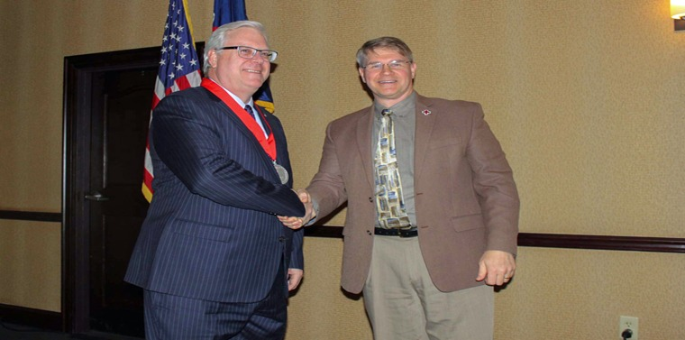 """American Red Cross-Finger Lakes Chapter Executive Director Brian McConnell congratulates Senator O'Mara following this year's """"Legislator of the Year"""" awards ceremony in Albany.  The Finger Lakes Chapter covers Chemung, Schuyler, Seneca, Steuben, Wayne and Yates counties."""