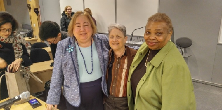 Sen. Krueger with participants in a roundtable on Including Older Women's Issues in the Feminist Agenda