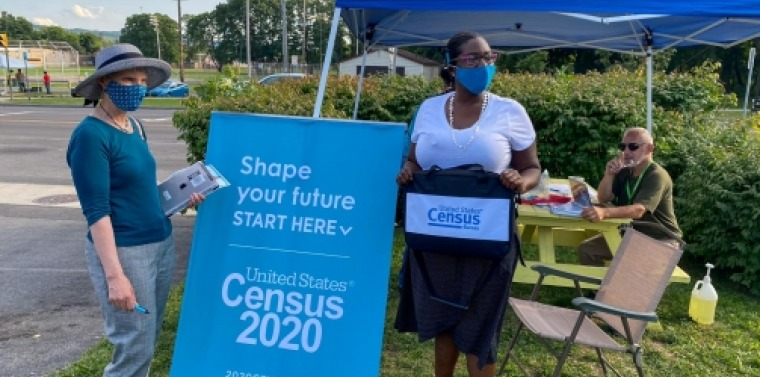 Senator May and community members at Census event