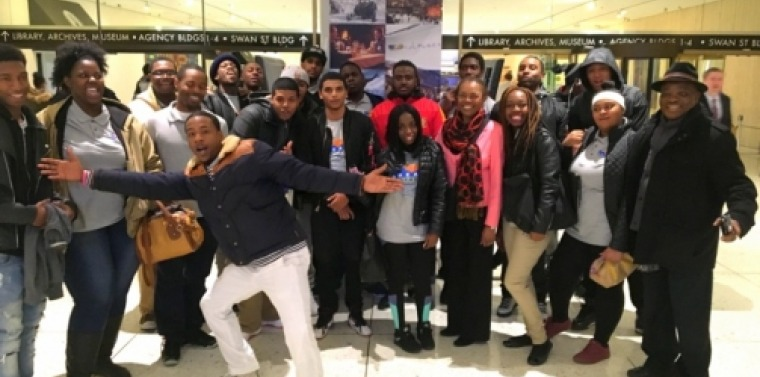 Senator Montgomery welcomes students from Brooklyn's DREAMS Youthbuild program to Albany