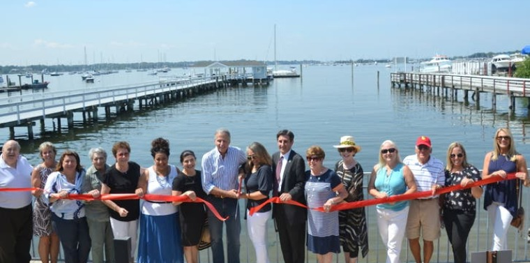 Business and elected officials on Wednesday celebrated the grand opening of Fathoms Hotel & Marina in Port Washington. (Photo Credit: Debbie Greco-Cohen)