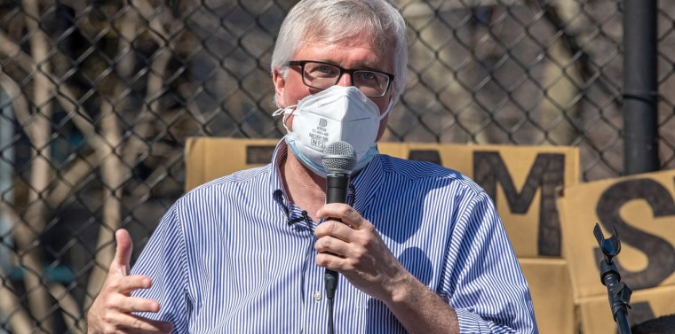New York state Sen. Brian Kavanagh spoke at a rally against anti-Asian hate crimes held in Manhattan's Chinatown neighborhood in March. PHOTO: Ron Adar/SOPA Images/ZUMA Press