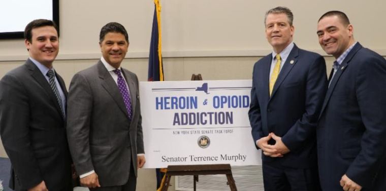 2018 Heroin Task Force (L-R) Assemblyman Kevin Byrne, Senator George Amedore, Senator Terrence Murphy & Senator Fred Akshar host a public meeting on the state of sober homes in New York.