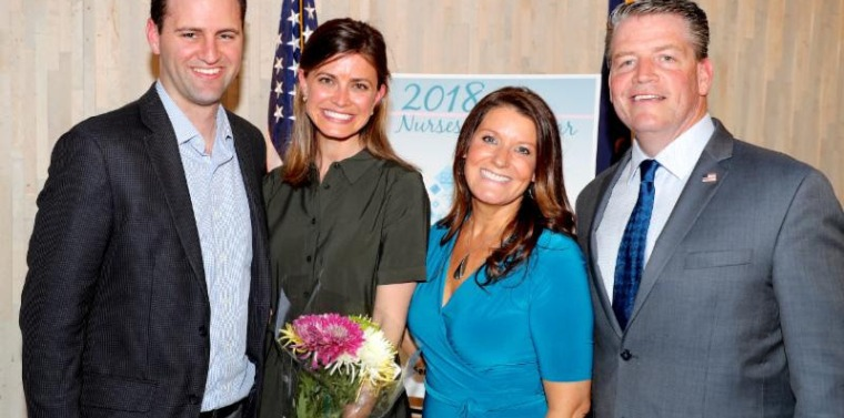 2018 Nurses of the Year Senator Murphy and his wife Caroline, a registered nurse herself, pose with honoree Katie Foltz and her husband Travis at the 2018 Nurses of the Year event.