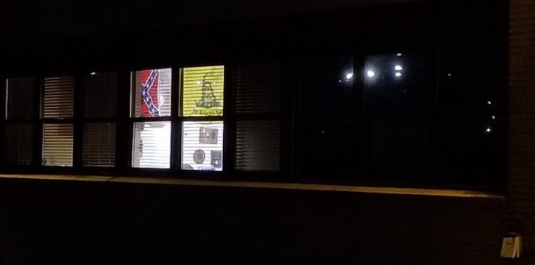 Confederate and political flags on display at the Levittown Fire Department Station 3, located at 284 N. Wantagh Avenue, Bethpage.