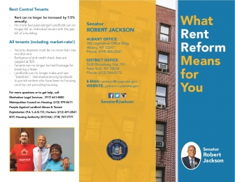 Page one of Senator Jackson's Rent Reform brochure